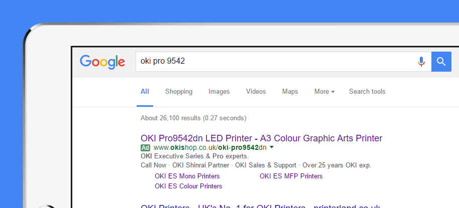 Using Google Adwords to deliver customers to the OKI Shop website