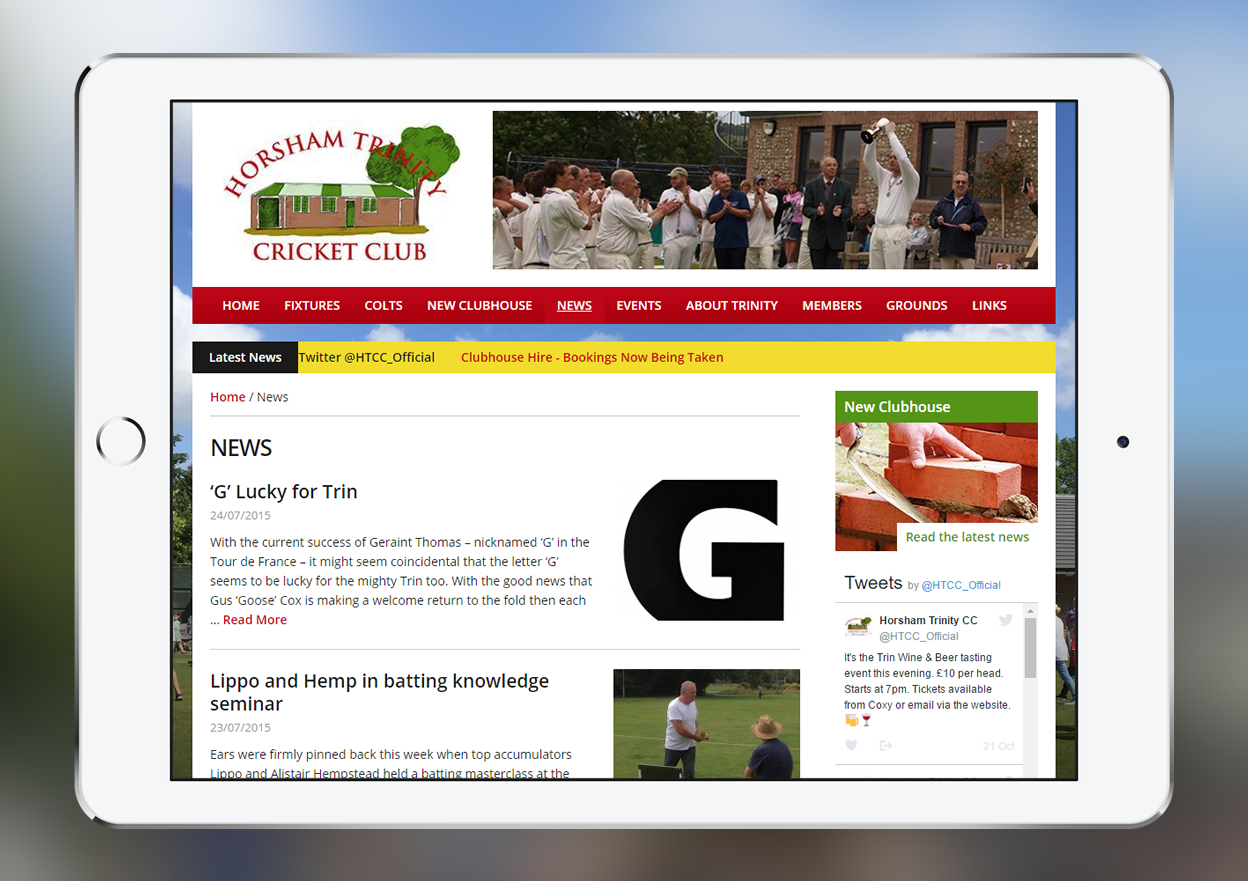 iPad showing a page on the Horsham Trinity Cricket Club website