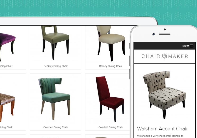 Example of how the Chairmaker web design displays on iPad and iPhone