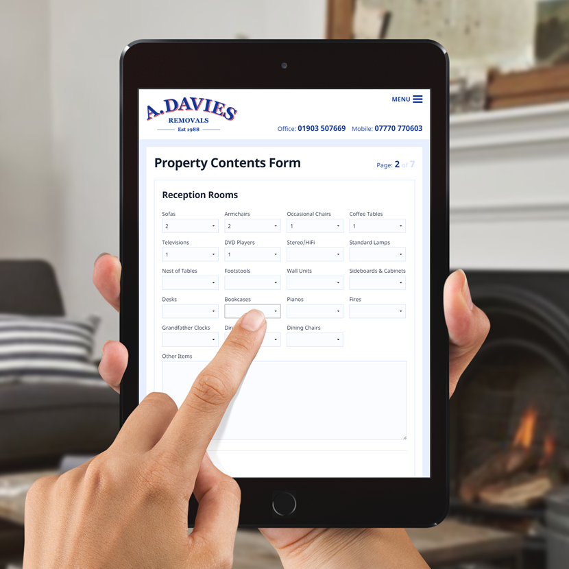 A customer completing the Property Contents Form on the A Davies Removals website