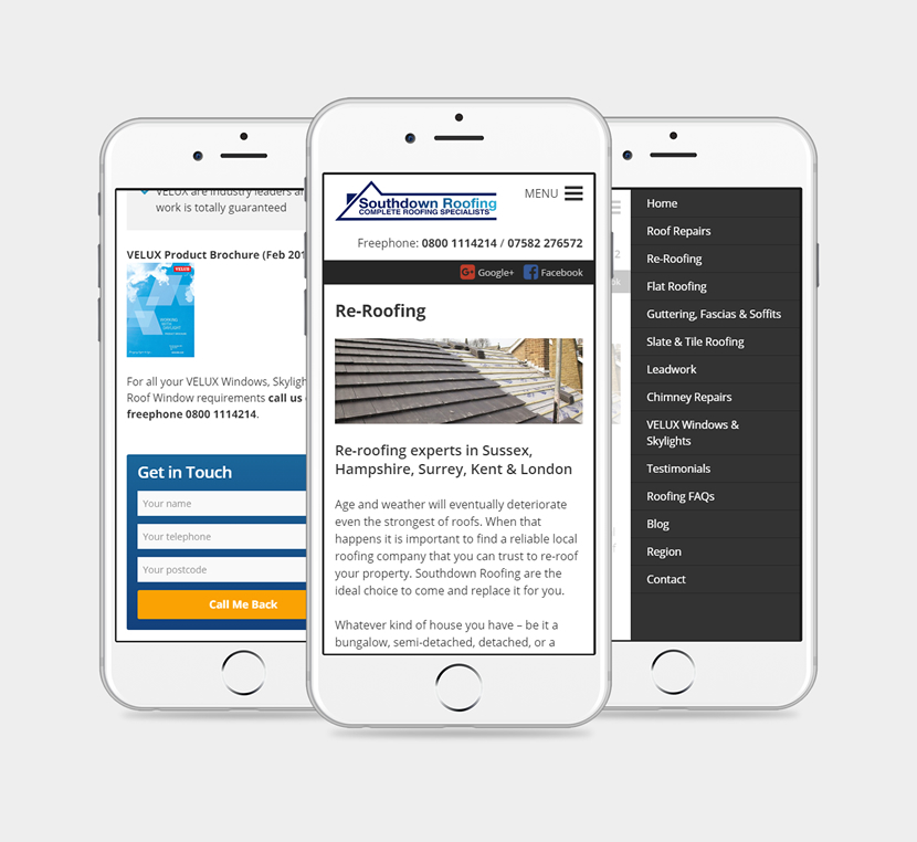 3 iPhones showing the new Southdown Roofing website design