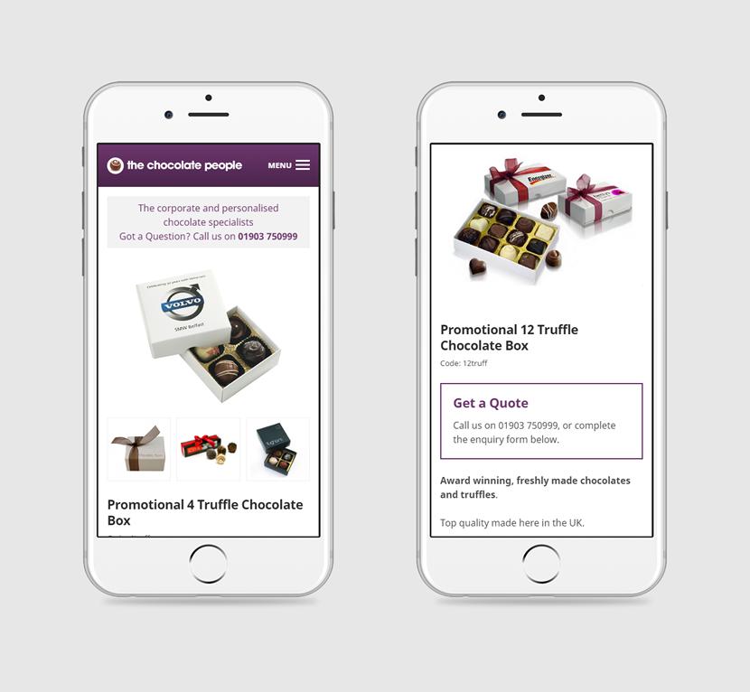 2 iPhones showing The Chocolate People website design