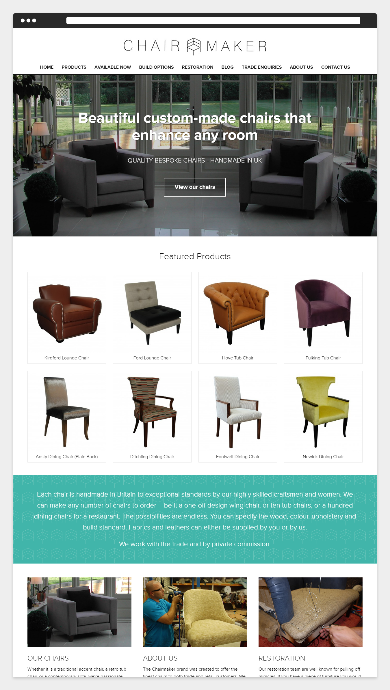 The Home page design on the Chairmaker website