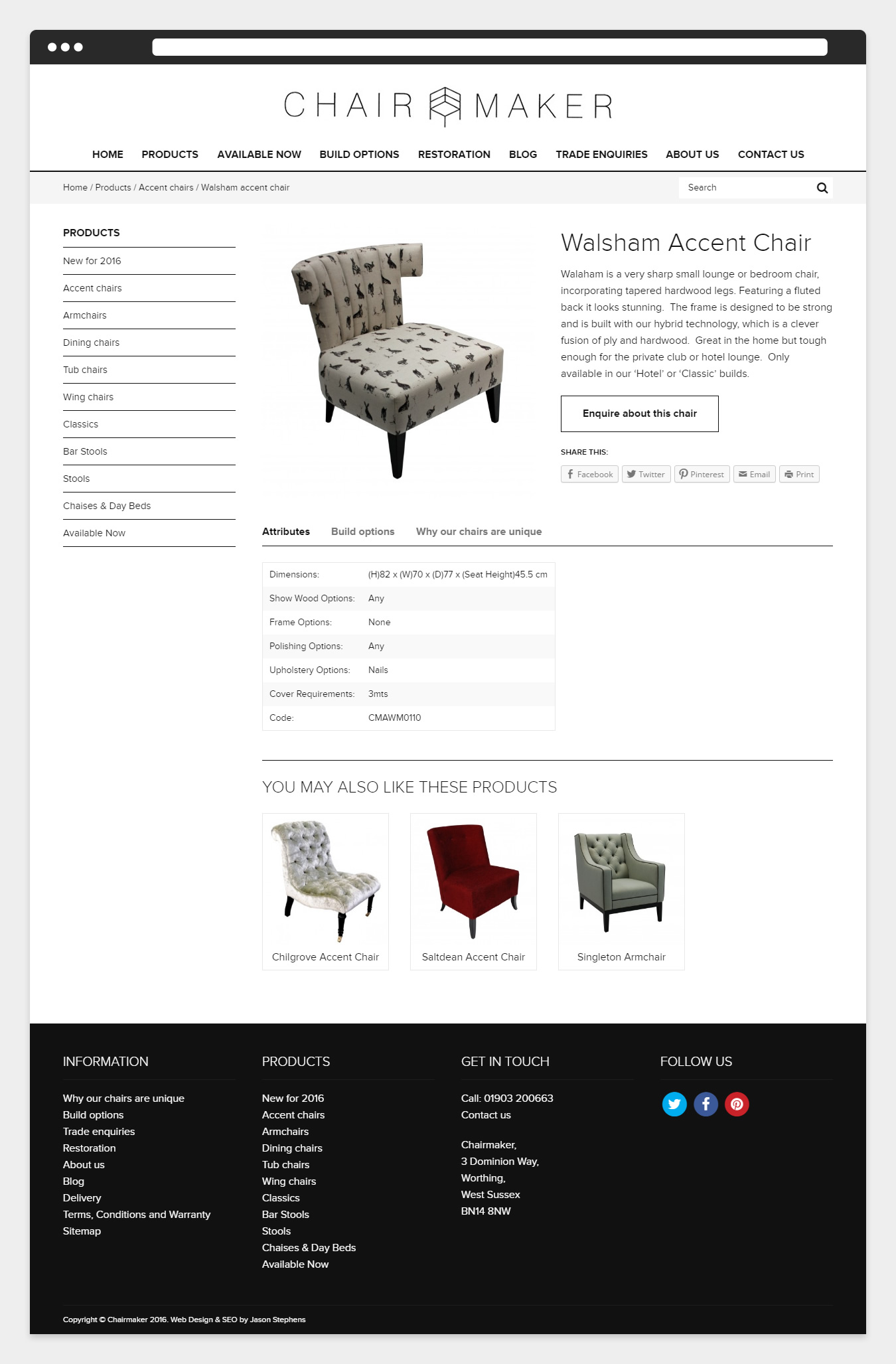 Product page design on the Chairmaker website