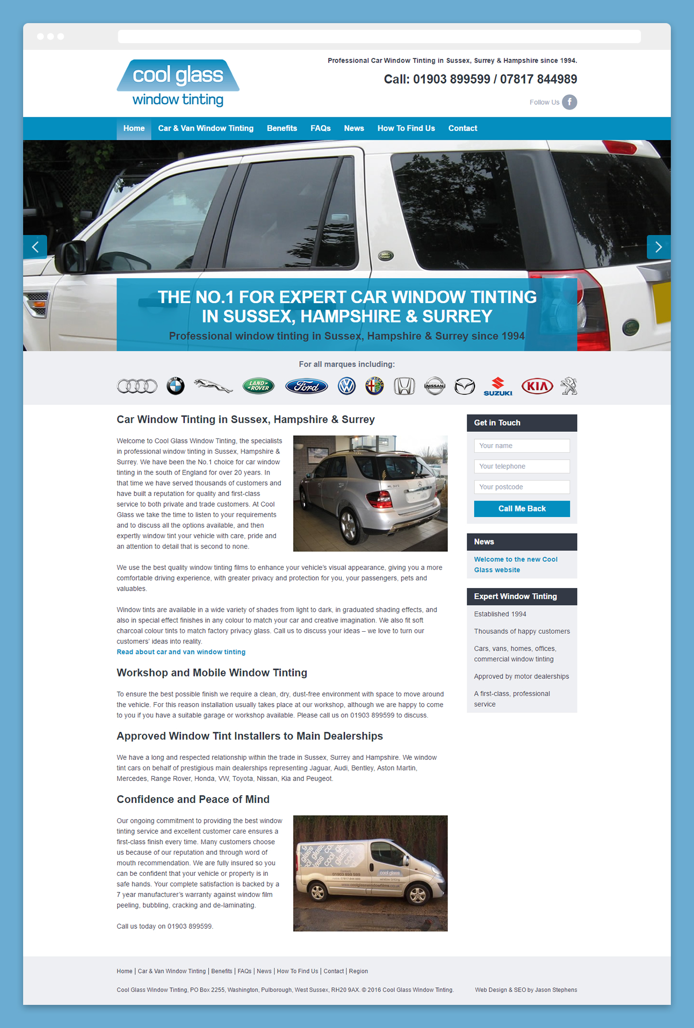 Screenshot showing the new Cool Glass website Home page