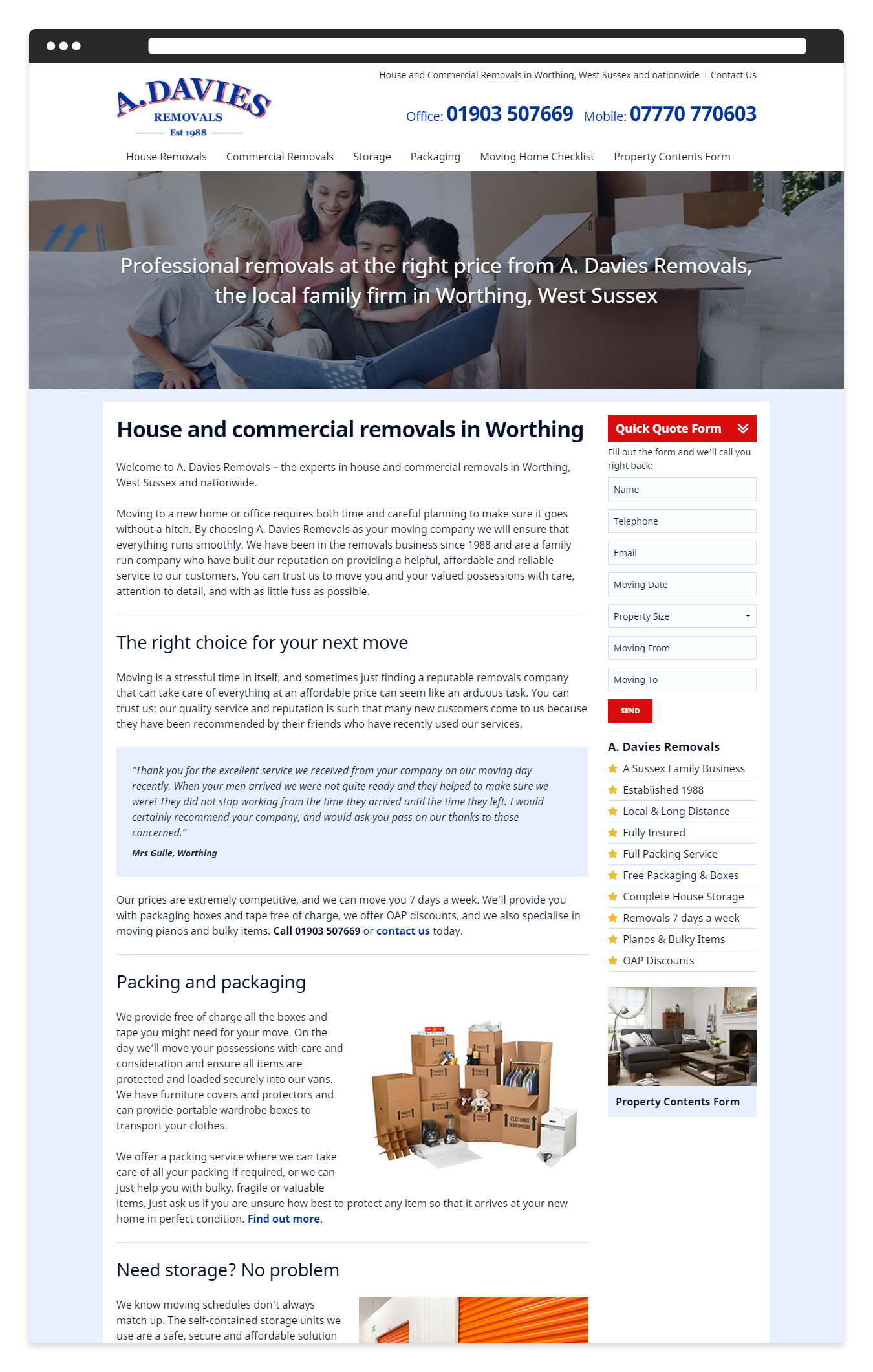 The A Davies Removals website Home page