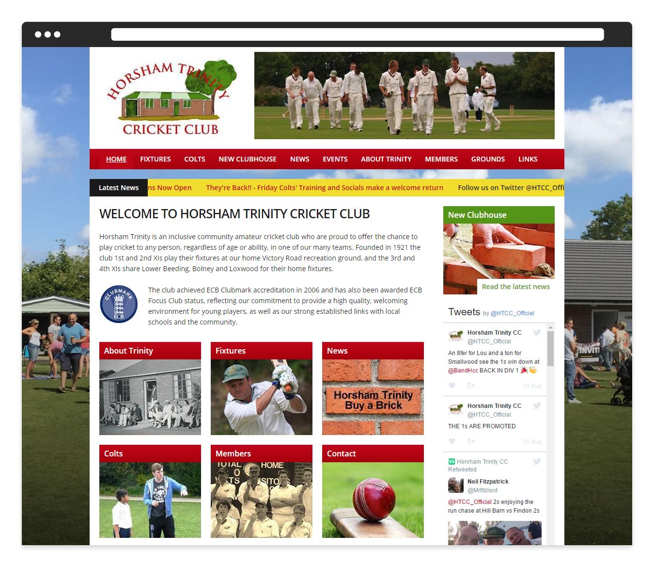 Horsham Trinity Cricket Club: Web Design & Development Case Study