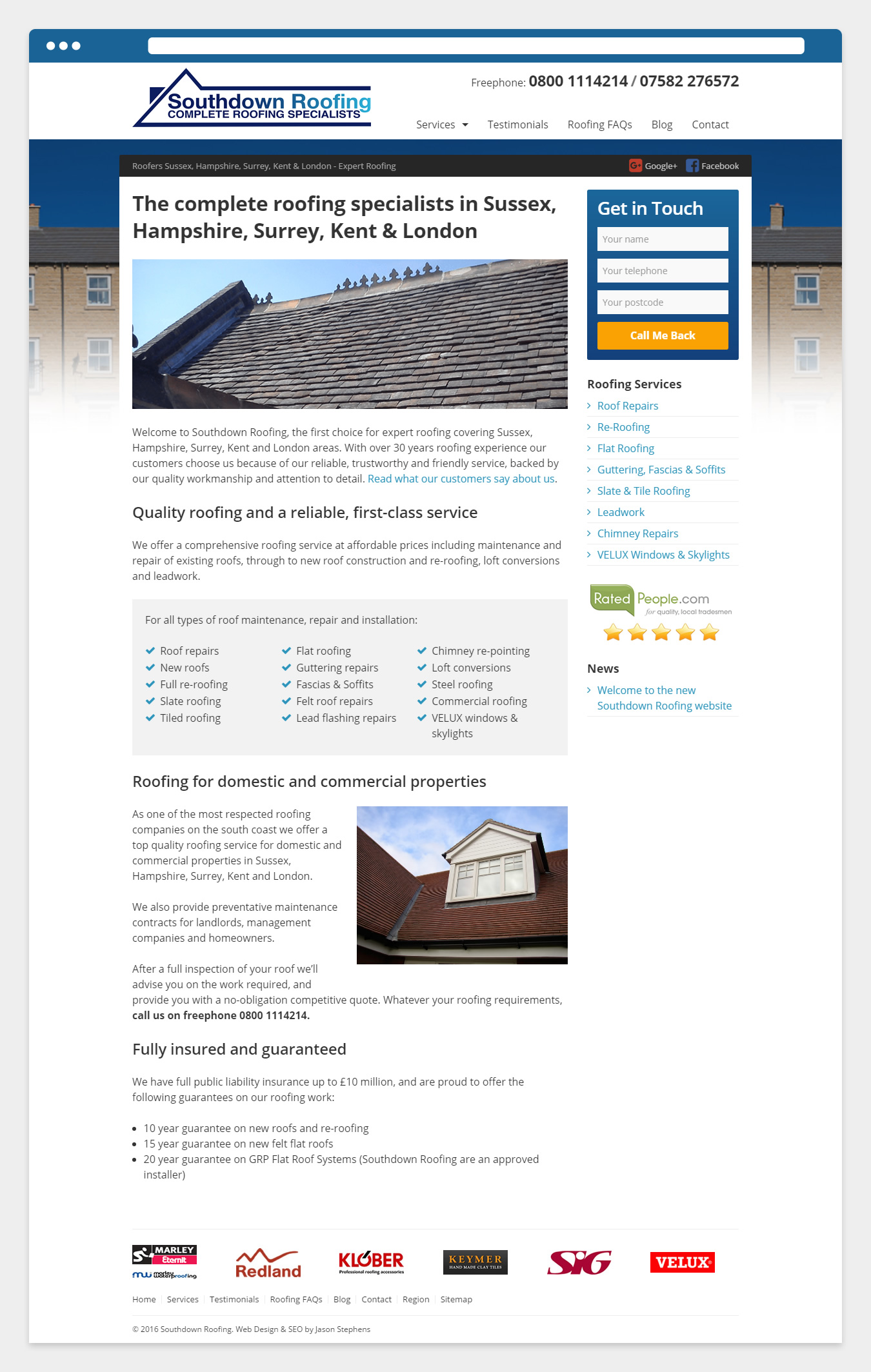 The new Southdown Roofing website Home page