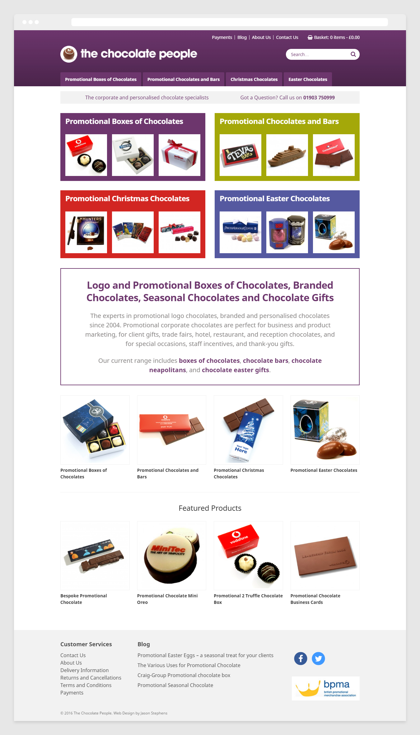 Web design for The Chocolate People - Home page example