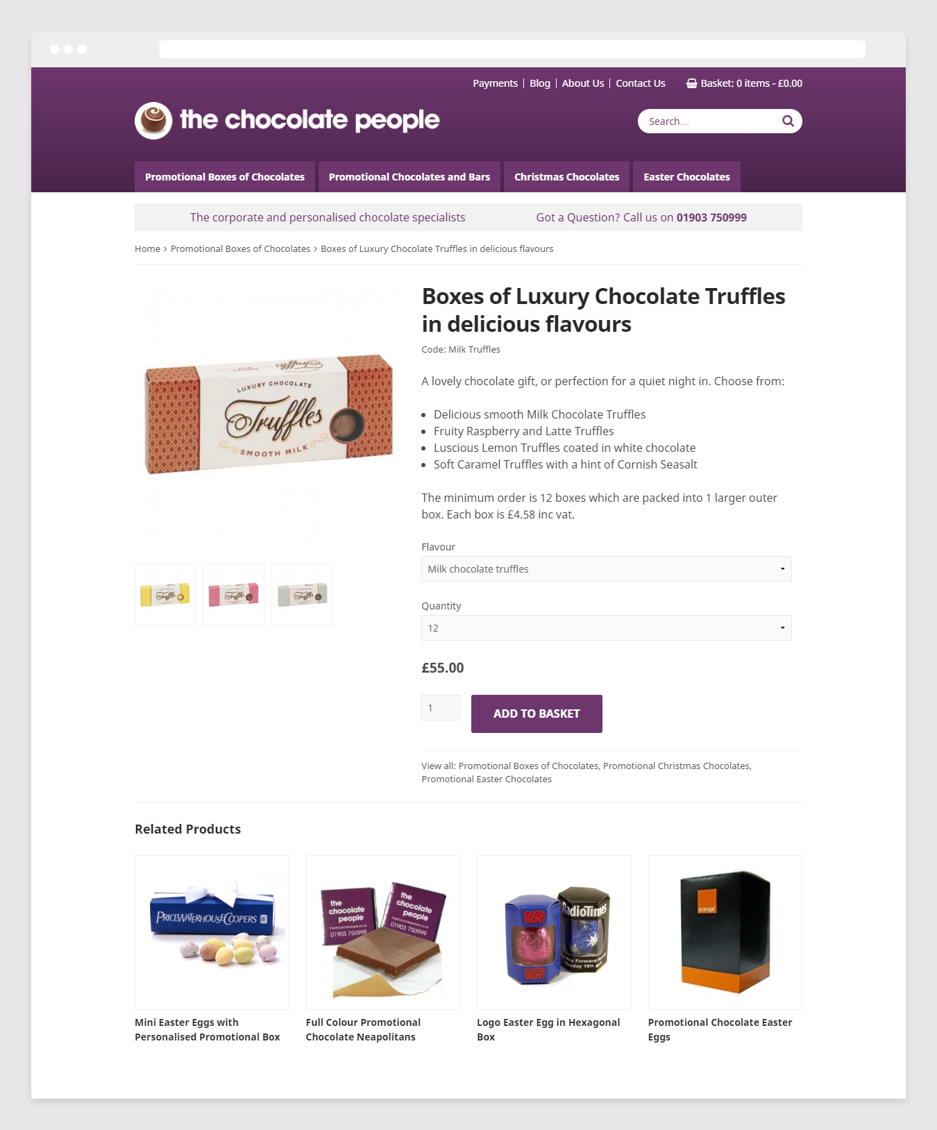 E-Commerce product page design on The Chocolate People website