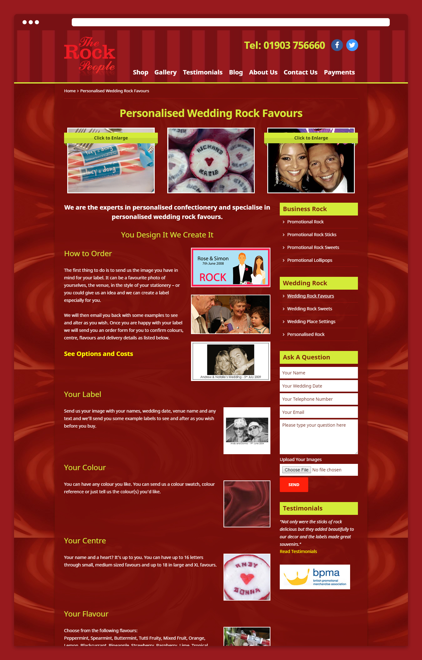 One of the web design page layouts for The Rock People