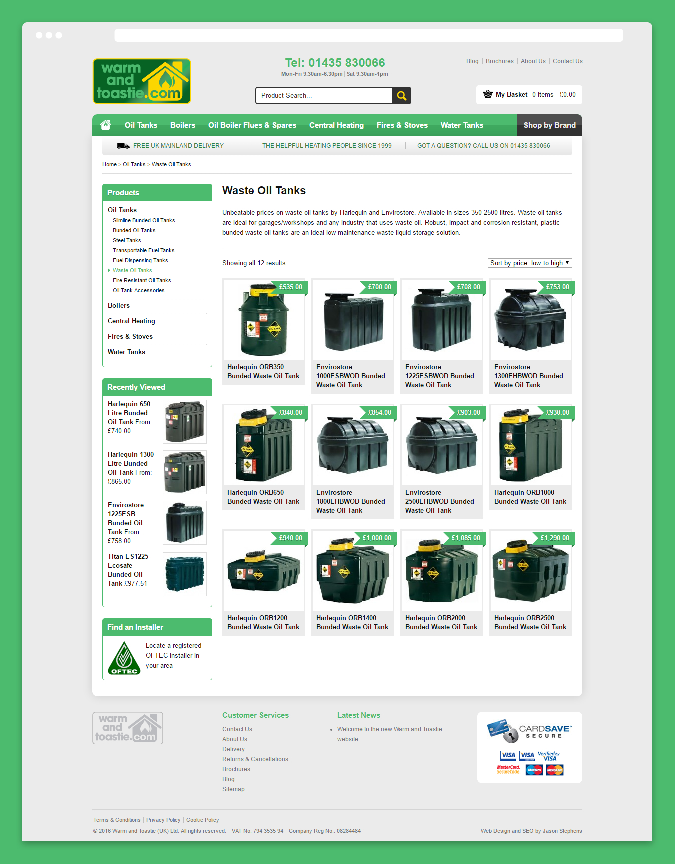 E-Commerce category page design on the Warm and Toastie website