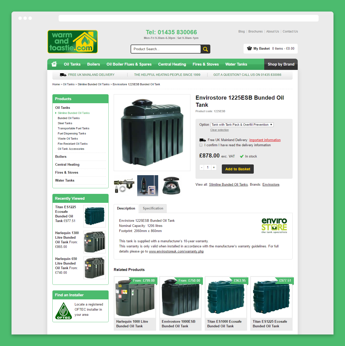 E-Commerce product page design on the Warm and Toastie website